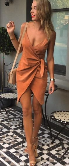 #night #dress #fashion / Camel Bandage Dress // Nude Pumps