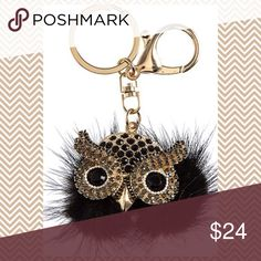 """Furry owl keychain A new twist on the furry pompom keychain!!Absolutely adorable furry owl keychain features a crystal embellished face. Perfect for keeping keys handy or to adorn a handbag or backpack. Approximate drop 4 1/4"""" and 2 1/2"""" wide Accessories Key & Card Holders"""