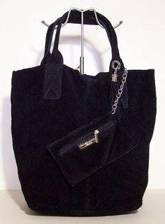 Damestas van Suede leer Zwart kleur model shopper