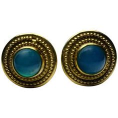 Elaine Greenspan Etruscan Style Chrysoprase Gold Earrings