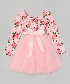 Designer Kidz Light Pink Floral Tutu Dress - Toddler & Girls by Designer Kidz Frocks For Girls, Kids Frocks, Toddler Girl Dresses, Little Girl Dresses, Girls Dresses, Flower Girl Dresses, Toddler Girls, Robes Tutu, Baby Frocks Designs