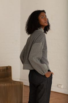 The Kona Grey jumper is your must have statement piece; uniquely made from soft Japanese wool and ribbing. Knitwear Fashion, Lace Bralette, European Fashion, Sustainable Fashion, Wool Blend, Jumper, Women Wear, Normcore