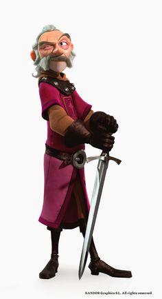 Trabajo de desarrollo de Blucher, el último Caballero del Valor y maestro de esgrima de Justin.            Y el render final del personaje, ...