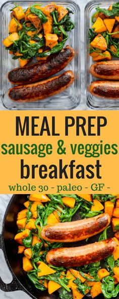 Prep Sausage and Veggie Breakfast Meal Prep Sausage and Veggie Breakfast. No eggs! and paleo approved. via allyscookingMeal Prep Sausage and Veggie Breakfast. No eggs! and paleo approved. via allyscooking Paleo Meal Plan, Easy Meal Prep, Healthy Meal Prep, Healthy Eating, Clean Eating, Healthy Egg Breakfast, Whole 30 Breakfast, Sausage Breakfast, Breakfast Recipes
