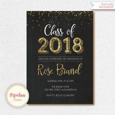 Phd doctoral graduation announcement invitation phd graduation and class of 2018 invitation gold glitter graduation invitation filmwisefo Images