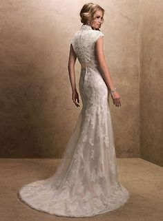 Always had a thing for lace, sash, and queen anne neckline (:    : graceful and classic!  #fashion #dress #wedding dress