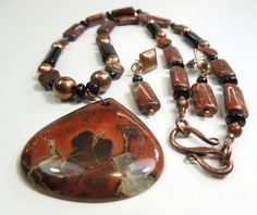 Jasper Necklace Set, Gemstone Jasper Necklace Earring Set, Vintage Reds and Browns Beaded Necklace via Etsy  THIS ITEM SOLD