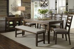 The Forest Brook Dining Set features a natural and dark ash finish. The 6PC Set includes (1) Dining Table, (4) Side Chairs, & (1) Dining Bench.   Dining Tab