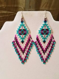 Native American Style Beaded Turquoise Blanket Earrings in