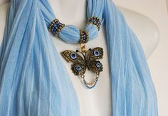 Scarf Jewelry Pendant Scarves With by RavensNestScarfJewel on Etsy, $24.00