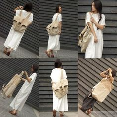 beige white patchwork large canbas-linen backpack-shoulder bag
