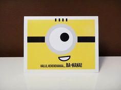 Hallo - Ba-nana - MINION - Despicable Me 2 - Cute Cartoon - A2 Greeting Card