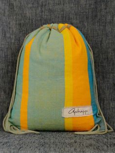 A unique handloom, Stringy bag from Sri Lanka - in Yellow, Green blue and Blue