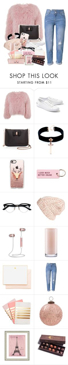 """""""Pink devotion"""" by scarlethflores ❤ liked on Polyvore featuring Charlotte Simone, Lacoste, Ted Baker, VSA, Casetify, Various Projects, Ace, Free People, Kate Spade and Joie"""