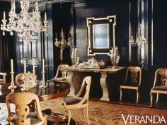 albert hadley black lacquered dining room