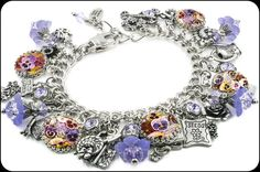 Pansy Purple Charm Bracelet - Blackberry Designs Jewelry