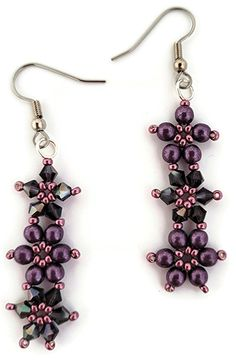 Deb Roberti's Crystal Flower Pattern Collection Crystal Flower, Beading Tutorials, Flower Patterns, Seed Beads, Drop Earrings, Crystals, Flowers, Collection, Jewelry