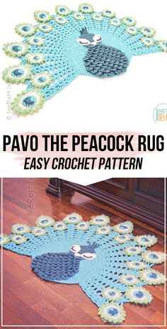 crochet Pavo the Peacock Rug pattern - easy crochet rug pattern for beginners Crochet Home, Crochet Baby, Knit Crochet, Crotchet, Crochet Rug Patterns, Crafts To Make And Sell, Diy Projects To Try, Diy Crafts, Peacock