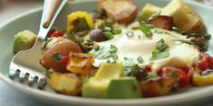 This breakfast hash is the perfect way to start your day. Eggs, Creamer potatoes, avocado and other fresh veggies make this a healthy and hearty breakfast. Potato And Egg Breakfast, Breakfast Hash, Breakfast Potatoes, Slow Cooker Recipes, Cooking Recipes, Healthy Recipes, Healthy Food, Potato Waffles, Healthy Potatoes
