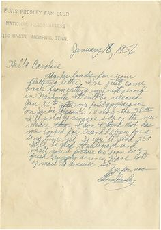 "1956 Elvis Presley handwritten signed letter to a fan. 1-page, 6.25 x 9 in., on ""Elvis Presley Fan Club National Headquarters"" (Memphis, TN) stamped stationery, dated January 18, 1956, with the original hand-addressed, stamped and canceled transmittal envelope, addressed to ""Miss Caroline Jeannette Helms.  Lot 11  Rock 'n' Roll Auction / December 18, 2013: https://www.profilesinhistory.com/auctions/rock-roll-auction-59-2/"