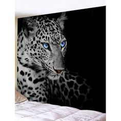 Leopard Eyes Print Tapestry Wall Hanging Decor - Black W79 Inch * L59 Inch Mobile
