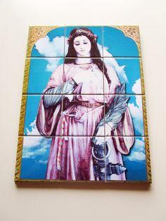 Saint Philomena #Catholic tile art #mosaic https://www.etsy.com/it/listing/244202426/saint-philomena-catholic-wall-art-mosaic