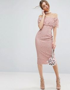 ASOS Lace Bardot Pencil Midi Dress