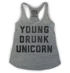 Young Drunk Unicorn Womens Tank Grey