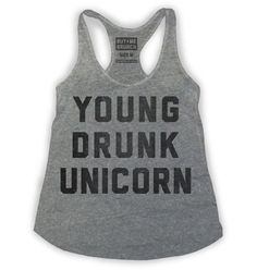 Young Drunk Unicorn Womens Tank Grey