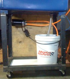 Homemade parts washer modification to a commercial unit consisting of the addition of an automotive filter. Garage Tools, Garage Shop, Homemade Machine, Basement Painting, Metal Bender, Machine Photo, Mechanic Tools, Metal Shop, Shop Organization