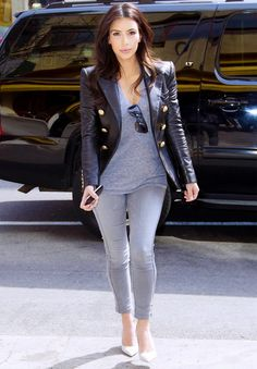 Lesson 5: Dress in Instagram-friendly tones.  On Kardashian: Balmain blazer; Splendid Very Light Jersey V-Neck Top ($52); Bleulab jeans.