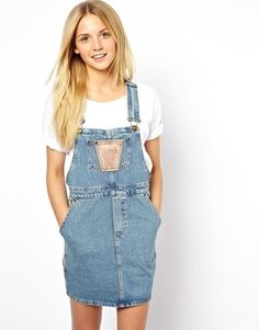 Image 1 of ASOS Cord Patch Denim Overall Dress