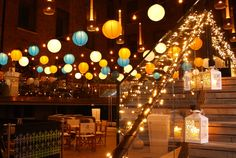 Dazzling paper lanterns, pealights, and vintage style lanterns decoration at Devonshire Terrace, London by www.stressfreehire.com #venuetransformers