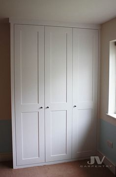 Closet choice - more simple. Classic fitted wardrobe with shaker doors from floor to ceiling, made in Kilburn, West London Bedroom Built In Wardrobe, Fitted Bedroom Furniture, Bedroom Closet Doors, Fitted Bedrooms, Bedroom Cupboards, Built In Wardrobe Ideas Alcove, Build In Wardrobe, Ikea Wardrobe Closet, Bedroom Cupboard Doors
