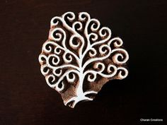 Hand Carved Indian Wood Textile Stamp Block- Swirls Tree
