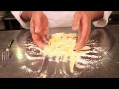 In this installment of Mario Batali presents Chef Matthew Abdoo of Del Posto shows us how to make a simple eggless pasta dough. Eggless (Lean) Pasta Dough pici, pasta, orecchiette, cavatelli ¾ lbs yield or 2 servings Durum cup, 3 ½oz) Semolina cup. Savoury Dishes, Vegan Dishes, B Food, Food Porn, Healthy Cooking, Cooking Tips, Mario Batali, Caramel Recipes, Vegan Pasta