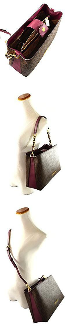 27da5ce3b483 Portia Satchel Handbag. Michael Kors Portia Large East West MK Signature  Satchel Crossbody Bag Purse Tote Handbag (Brown/Plum).