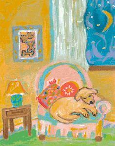 Dog Puppy Art Print - Sleepy Puppy - Print by Karen Fields 13 x 19