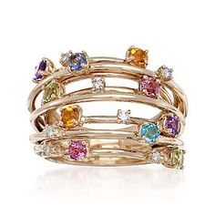Ross-Simons - 1.16 ct. t.w. Multi-Gem and .20 ct. t.w. Diamond Ring in 14kt Yellow Gold. Size 7 - #279899