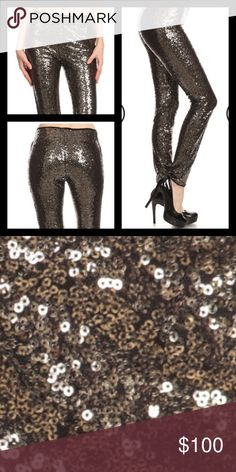 🎉Coming Soon🎉High Waist Sequin Leggings Textured, full length leggings in a slim fitting style with a banded high waist and sequins. Leggings are black with tons and tons of gold sequins scattered beautifully all over! Perfect for Holiday Parties, New Years Eve celebrations, and even a fun girls night out! 100% Polyester. Available in size Small (0-4), Medium (6-8), and Large (10-12)! Measurements and more pictures to come! Will be $48. Pants Leggings