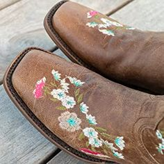 Amazon.com | Soto Boots Women's Jasmine Floral Square Toe Cowgirl Boots M50043 (Tan, 5.5 B(M) US) | Mid-Calf Girl Cowboy Boots, Warm Winter Boots, Snow Boots Women, Pull On Boots, Bearpaw Boots, Floral Embroidery, Jasmine, Calves, Toe