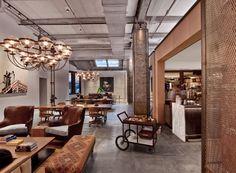 Un espacio de trabajo colaborativo con líneas clásicas en New York. Rockwell Group.