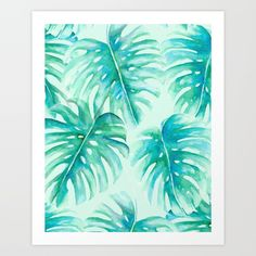 Split leaf philodendron pattern rendered in watercolor, digitally edited and made into a seamless pattern. Part of the tropical 'Paradise' collection.<br/> <br/> watercolor, watercolor painting, watercolor floral...