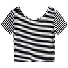 Round Neck Striped Crop T-Shirt (€6,79) ❤ liked on Polyvore featuring tops, t-shirts, shirts, crop tops, black and white, long-sleeve shirt, long sleeve shirts, longsleeve t shirts, long sleeve cotton shirts and black and white striped t shirt