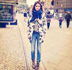 Eva Padberg wearing her Closed Jeans in Berlin