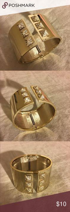 Gold Diamond-Studded Cuff Great condition. No missing jewels. Victoria's Secret Jewelry Bracelets