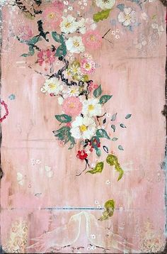 "Kathe Fraga Art, www.kathefraga.com Kathe's paintings are inspired by the romance of vintage French wallpapers and Chinoiserie with a modern twist. ""Blush"", 36x24 on frescoed birch panel with Japanese gold ink."