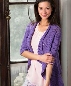 This drapey cardigan is very easy, yet the finished project is very impressive. Crochet it starting at the left front edge, work around the back, and end at the right front. The three-quarter length...