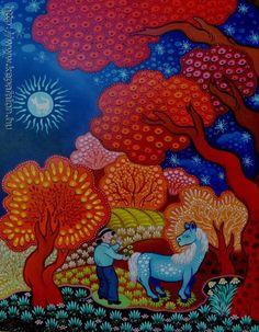 László Koday of Hungary Henri Rousseau, Naive Art, Rainbow Colors, Art Images, Home Art, Fairy Tales, Folk, Artsy, Kawaii
