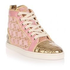 Christian Louboutin Bip Bip Pink and Gold Suede Sneaker (2.300 BRL) ❤ liked on Polyvore featuring shoes, sneakers, pink, metallic sneakers, suede sneakers, suede high top sneakers, metallic high top sneakers and gold high tops